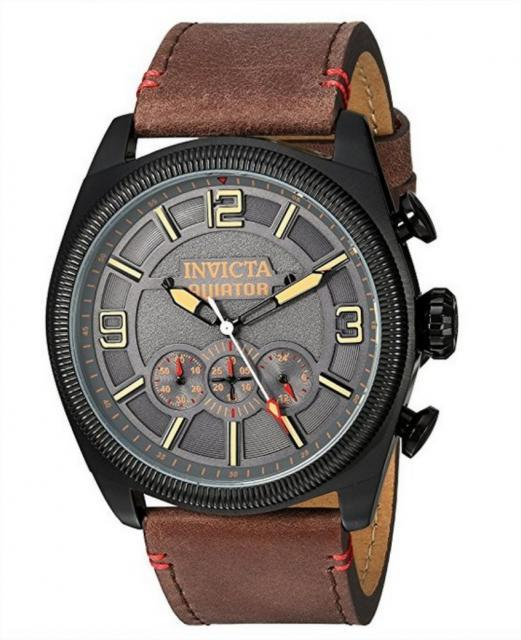 INVICTA MEN'S AVIATOR QUARTZ STAINLESS STEEL COLOR BROWN al 5346-44*99